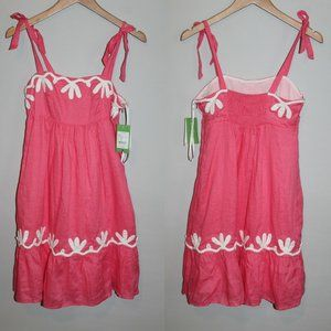 NWT Lilly Pulitzer Cormick Linen Dress Pink HW8632